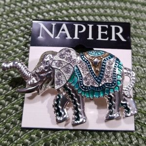 Napier Jewelry - Napier Trunk Up White Crystal's Elephant Brooch